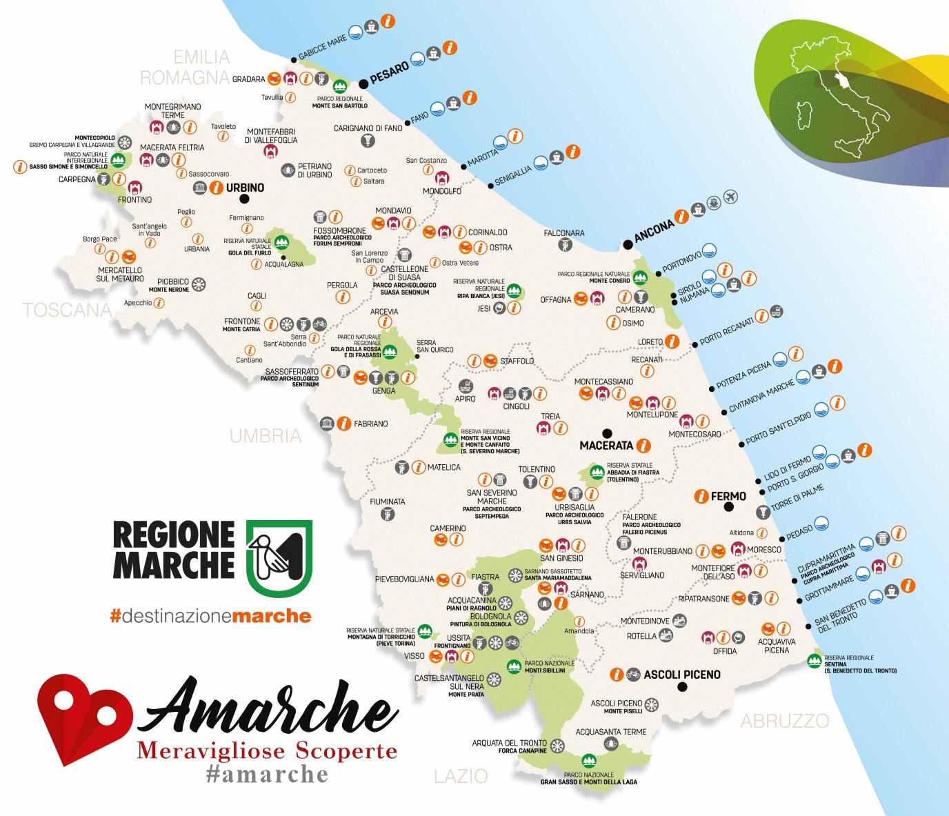 Cartina Le Marche.Cosa Vedere Nelle Province Delle Marche