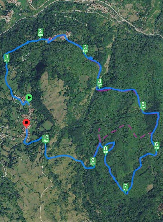 trekking mappa sentiero anello spelonga faete