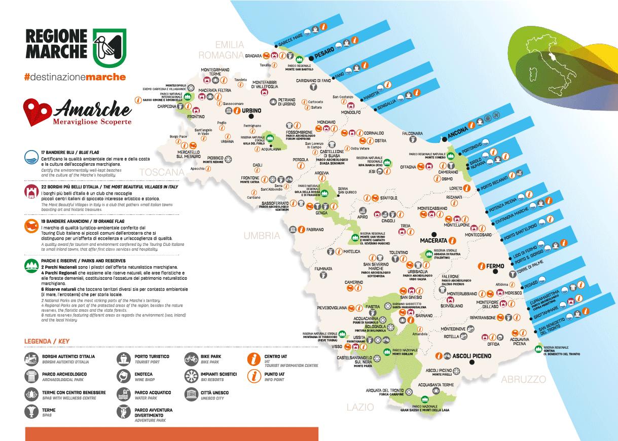 Cartina Italia Zone Balneari.Le Piu Belle Spiagge Delle Marche Le Zone Di Mare Piu Spettacolari