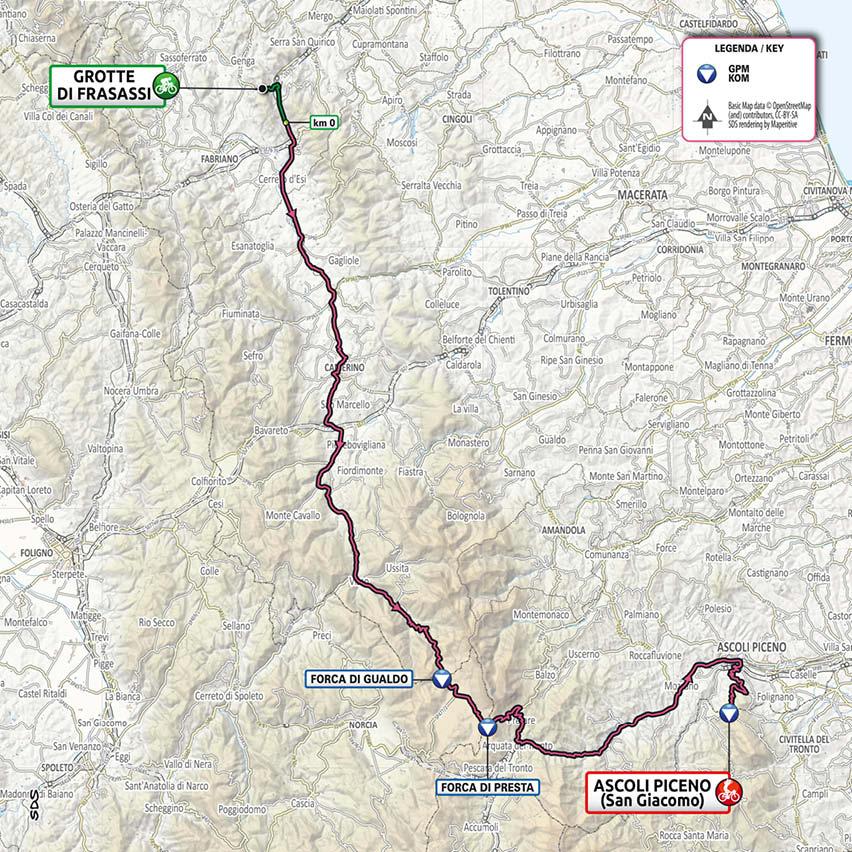 Cartina Dell Italia Marche.Giro D Italia 2021 Tappa Marche Da Frasassi Ad Ascoli Piceno